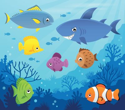 Stylized fishes topic image 7 - eps10 vector illustration.