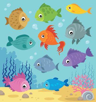 Stylized fishes topic image 6 - eps10 vector illustration.
