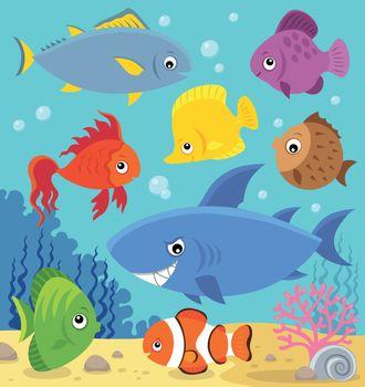 Stylized fishes topic image 5 - eps10 vector illustration.