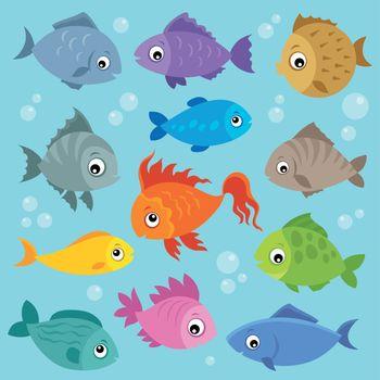 Stylized fishes topic image 3 - eps10 vector illustration.