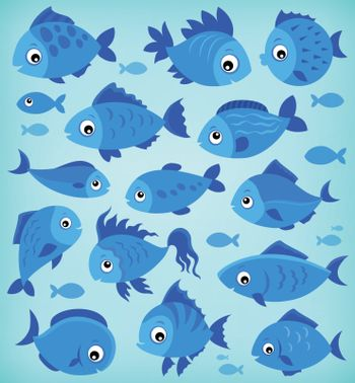 Stylized fishes topic image 8 - eps10 vector illustration.