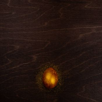 One big golden easter egg on dark wooden background copy space for text