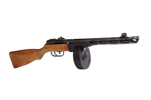 submachine gun over white