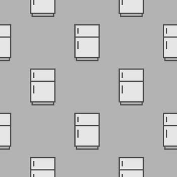 Grey Refrigerator icon - seamless pattern on grey background