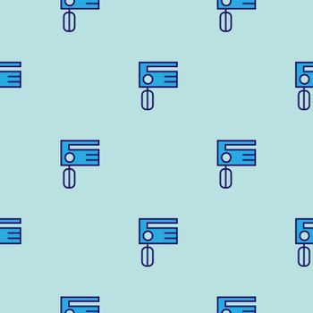 Mixer kitchen pattern vector seamless blue repeat for any use