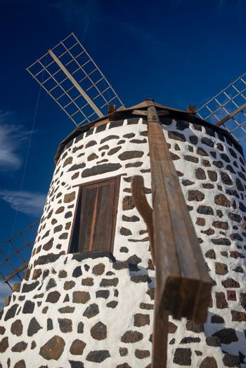 detail of characteristic windmill of fuerteventura, canary islands