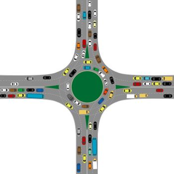 Roundabout road junction with many cars