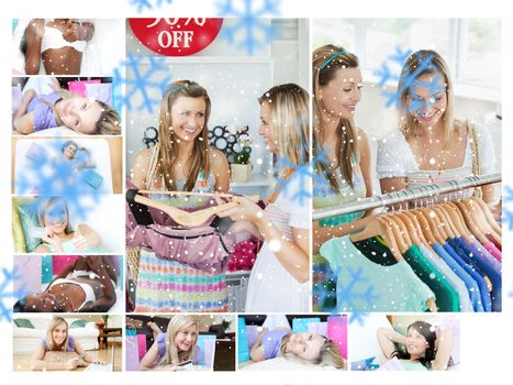 Montage of young women shopping for clothes