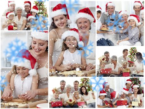 Collage of families enjoying celebration moments together at home against snowflakes