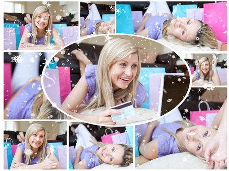 Montage of happy young woman who has been shopping