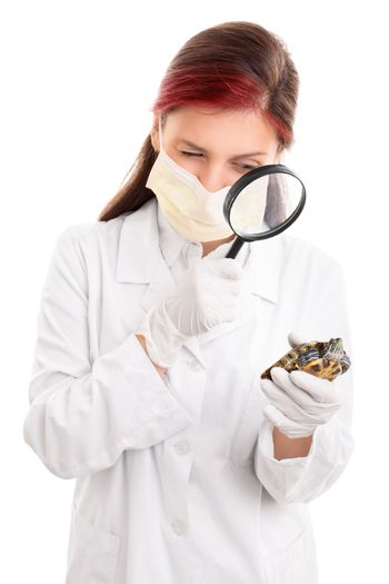 Young female veterinarian in white lab coat, surgical mask and latex gloves, examining a turtle with magnifying glass, isolated on white background.