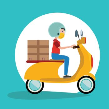 Delivery Man Ride Scooter Motorcycle wearing a surgical mask Cartoon Flat Vector icon.