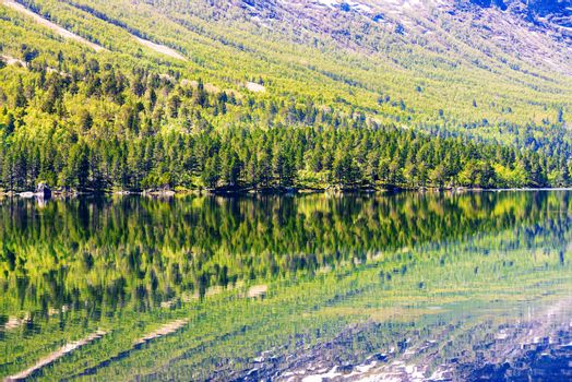 mountain lake with reflections