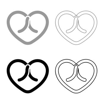 Bow tied heart icon outline set black grey color vector illustration flat style simple image