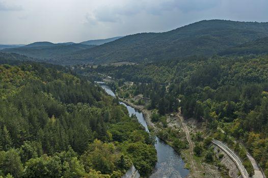 View from river Topolnitsa after Topolnitsa dam near village Muhovo, Ihtiman region, Bulgaria, Europe