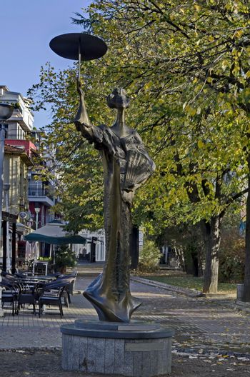 Favorite public place in town Kazanlak with a statue of a Japanese woman, built with a donation campaign by citizens, a gift for thousands of Japanese tourists, Bulgaria