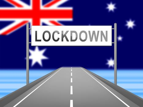 Australia lockdown preventing coronavirus epidemic or outbreak. Covid 19 Australian precaution to lock down disease infection - 3d Illustration
