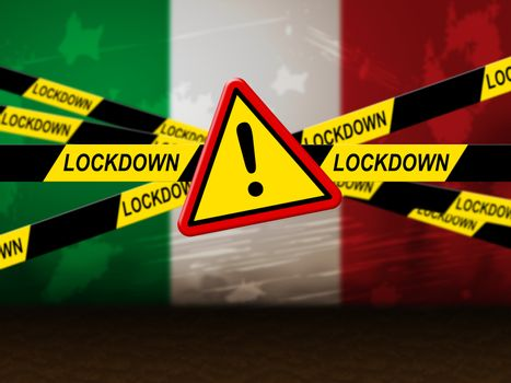 Italy lockdown stopping ncov epidemic or outbreak. Covid 19 Italian ban to isolate disease infection - 3d Illustration
