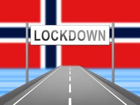 Norway lockdown stopping ncov epidemic or outbreak. Covid 19 Norwegian ban to isolate disease infection - 3d Illustration