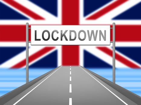United Kingdom lockdown preventing coronavirus spread or outbreak. Covid 19 UK precaution to lock down virus infection - 3d Illustration
