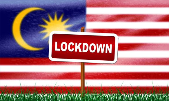 Malaysia lockdown stopping ncov epidemic or outbreak. Covid 19 Malaysian ban to isolate disease infection - 3d Illustration