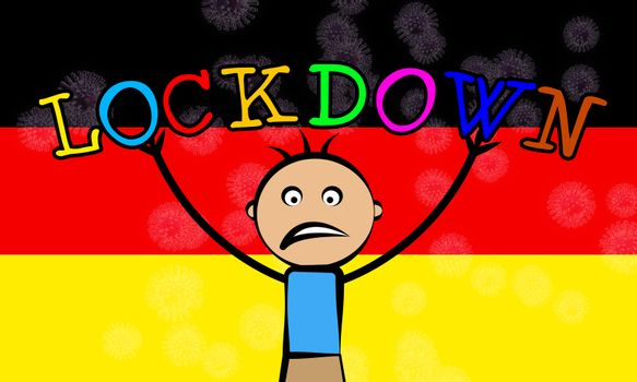 German kids lockdown stopping ncov epidemic or outbreak. Covid 19 Germany ban to isolate children disease infection - 3d Illustration