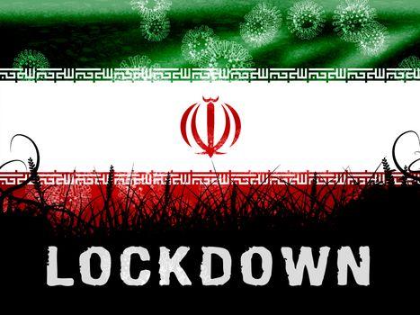 Iran lockdown preventing coronavirus spreading and outbreak. Covid 19 Iranian precaution to lock down virus infection - 3d Illustration