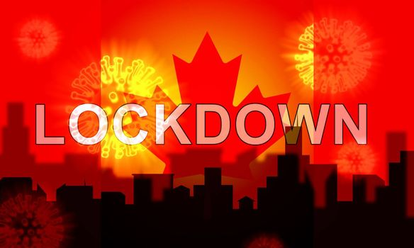 Canada lockdown preventing coronavirus pandemic and outbreak. Covid 19 canadian precaution to lock down disease infection - 3d Illustration