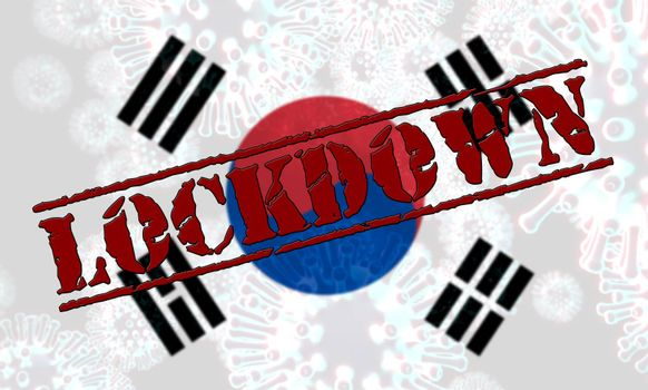 South Korea lockdown slowing ncov epidemic or outbreak. Covid 19 Korean ban to isolate disease infection - 3d Illustration