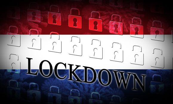 Holland lockdown preventing Netherlands coronavirus epidemic or outbreak. Covid 19 Dutch precaution to lock down disease infection - 3d Illustration