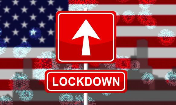 USA lockdown or shutdown from ncov epidemic outbreak. Covid 19 American precaution to stop disease infection - 3d Illustration