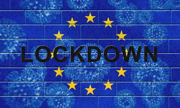 EU lockdown to stop covid19 epidemic or outbreak. Covid 19 European Union restrictions to isolate disease infection - 3d Illustration
