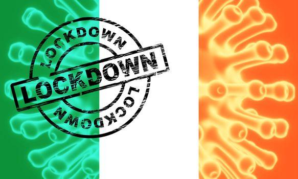 Ireland lockdown or curfew to stop covid19 epidemic. Covid 19 Irish precaution to isolate virus infection - 3d Illustration