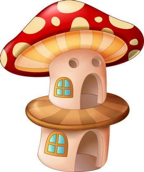 Cool Brown Red Mushroom House Cartoon