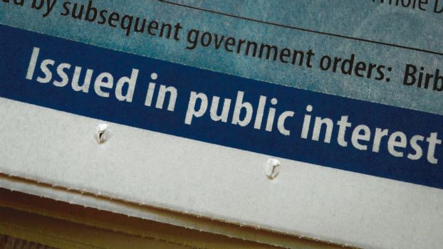 Part of Newspaper showing words issued in public interest. This design element can be used as promotion, protection material by the public and government agencies for Welfare of the general public.