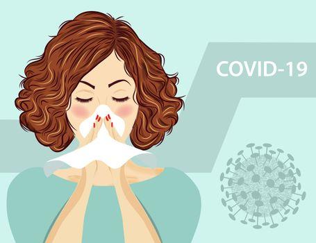 woman with flu. Coronavirus disease, Covid-19. Vector