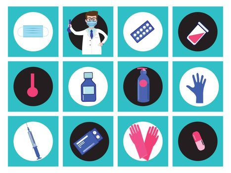 Vector icon set of treatment and healthcare concept. Set of medical icons in circle button style.