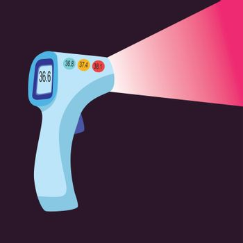 Digital contactless thermometer with infrared light. thermometer gun for forehead with temperature range standard.