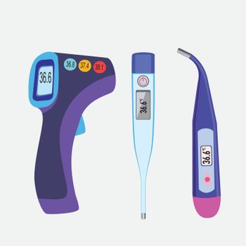 Vector different types of thermometers, medical accessory for prevention coronavirus.