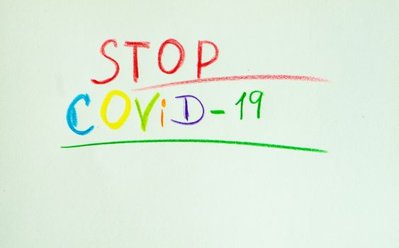 COVID-19 virus concept with safe notes on pastel background with copy space