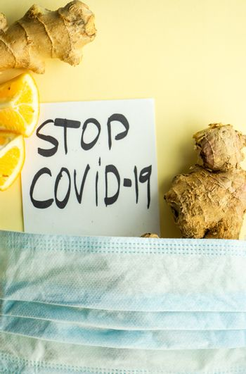 Organic food concept with vitamin and energy food for saving from COVID-19 virus
