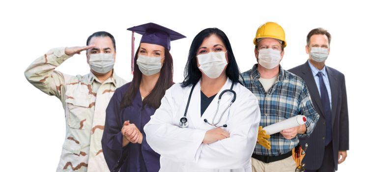 Variety of People In Different Occupations Wearing Medical Face Masks Amidst the Coronavirus Pandemic.
