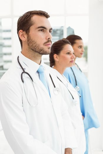 Serious doctors at medical office