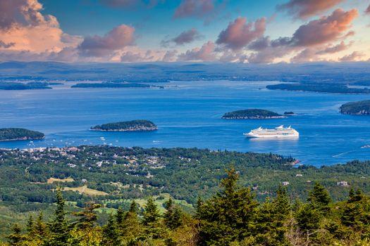Cruise Ship in Blue Bay off Maine Coast