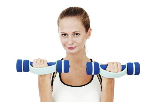 dumbbells in woman hands isolated on white background