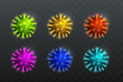 6 set Design illustration of icons and virus symbols with various colors.
