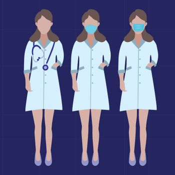 Vector Set of Doctors Character. Illustration Women's profession doctors nurse with surgical masks and phonendoscope. Stop Coronavirus concept.