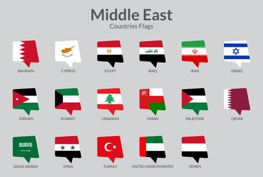 Middle east countries flag icons collection