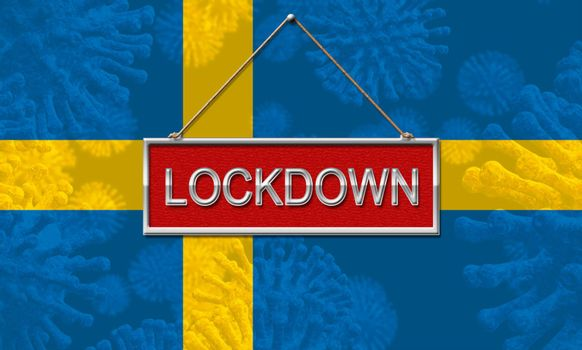 Sweden lockdown halting coronavirus spread and outbreak. Covid 19 Swedish precaution to lock down virus disease - 3d Illustration