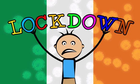 Ireland kids lockdown or curfew to stop covid19 epidemic. Covid 19 Irish precaution to isolate virus infection - 3d Illustration